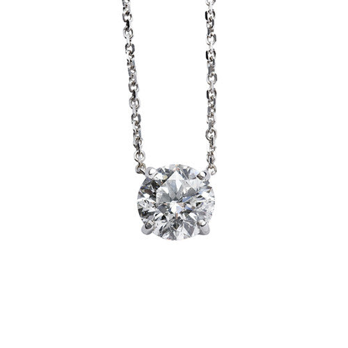 1.00 Carat Classic Round Diamond Pendant in White Gold