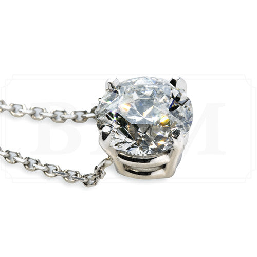 .33 carat classic round diamond pendant in white gold
