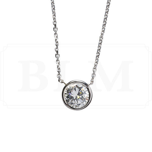 1.50 carat round diamond bezel pendant in white gold