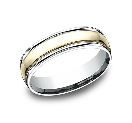 Benchmark 14k Gold Two-Tone 6mm Comfort Wedding Band