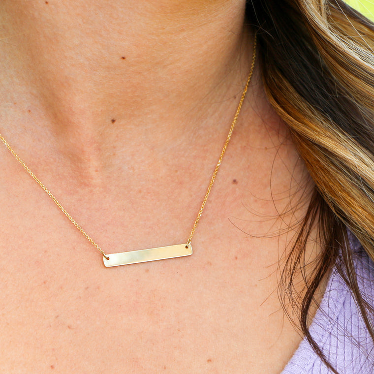 Hand Made 14k Yellow Gold Bar Necklace