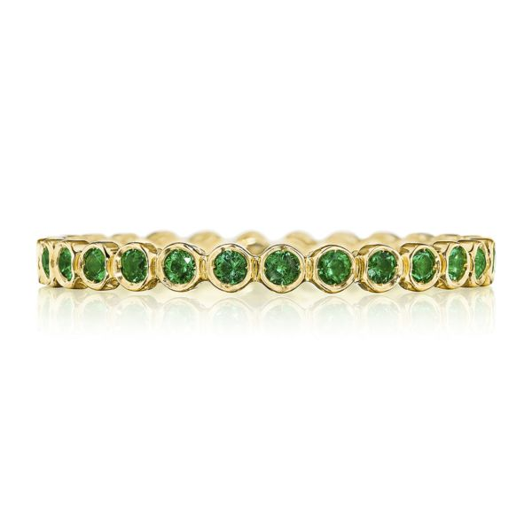 Tacori Sculpted Crescent 18k Yellow Gold Wedding Band with Emeralds
