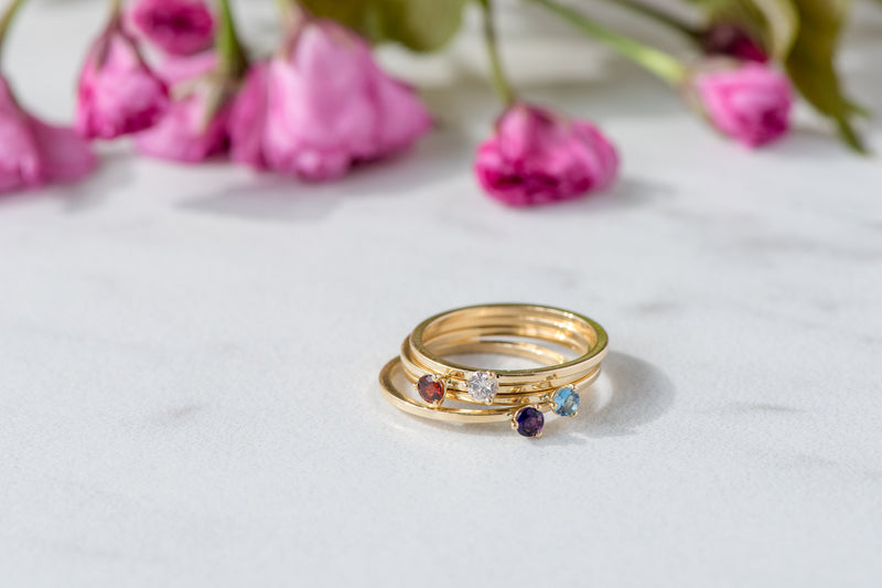 BLM April Birthstone and 14k Yellow Gold Stacking Ring