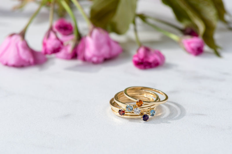 BLM November Birthstone and 14k Yellow Gold Stacking Ring