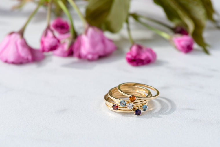 BLM January Birthstone and 14k Yellow Gold Stacking Ring