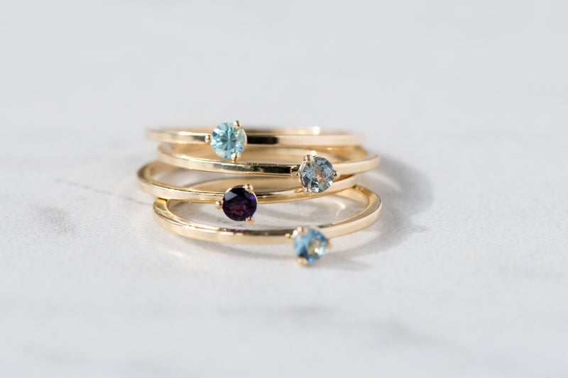 BLM March Birthstone and 14k Yellow Gold Stacking Ring