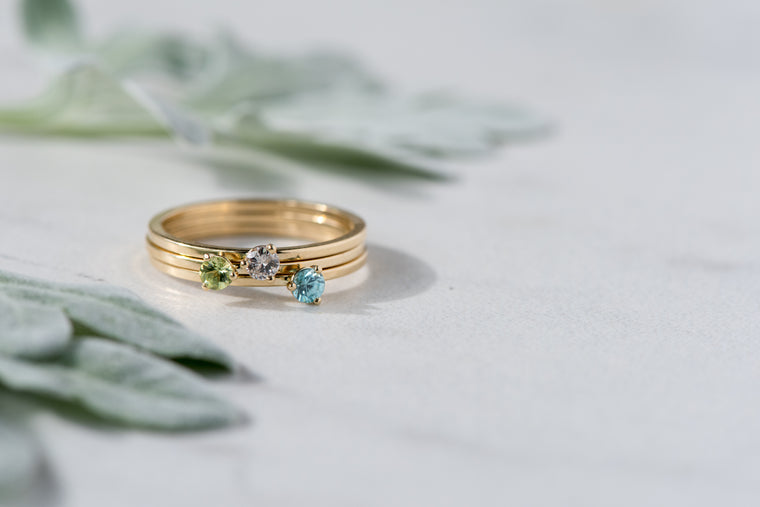 BLM June Birthstone and 14k Yellow Gold Stacking Ring