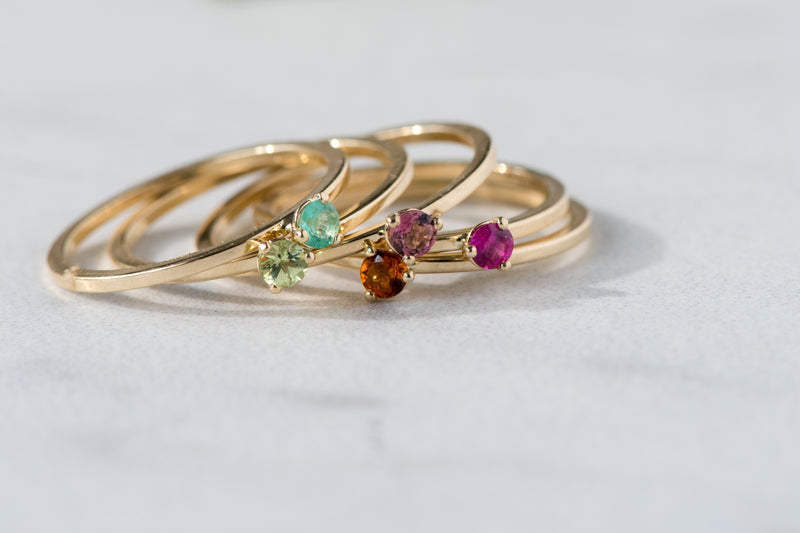Hand Made July Birthstone and 14k Yellow Gold Stacking Ring
