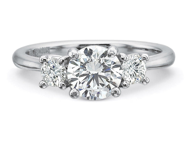 Precision Set New Aire Three Stone Ring With 0.30CTW Side Diamonds