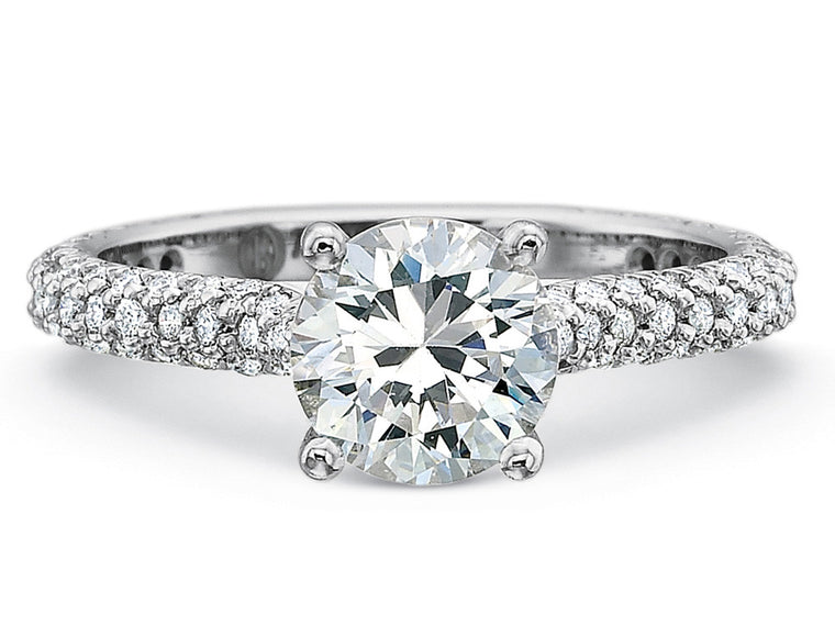 Precision Set New Aire Three Row Engagement Ring with 0.26CT Diamonds