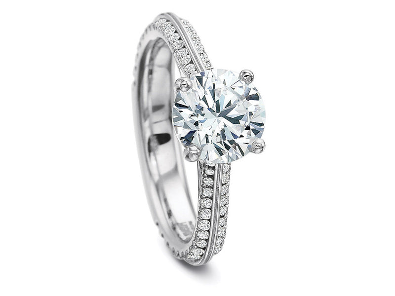 Precision Set New Aire Diamond Prong Set Divided Engagement Ring