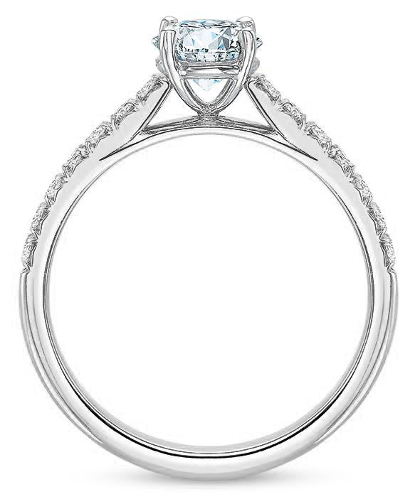 Precision Set New Aire 14k White Gold Engagement Ring with Side Diamonds