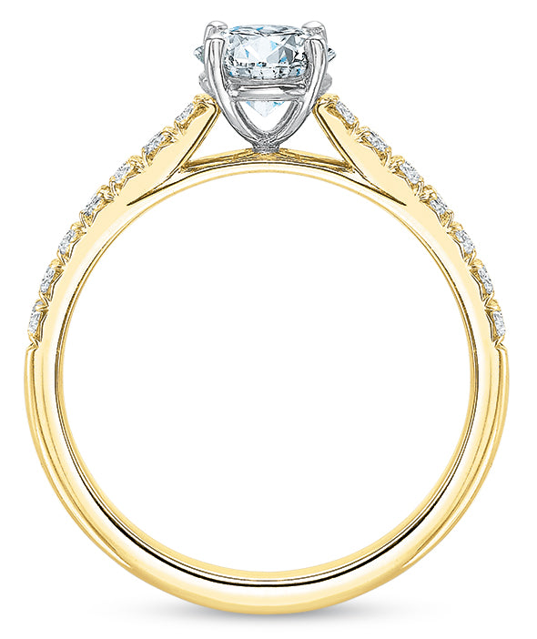 Precision Set New Aire 14k Yellow Gold Engagement Ring with Side Diamonds