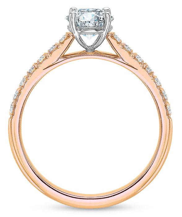 Precision Set New Aire 14k Rose Gold Engagement Ring with Side Diamonds