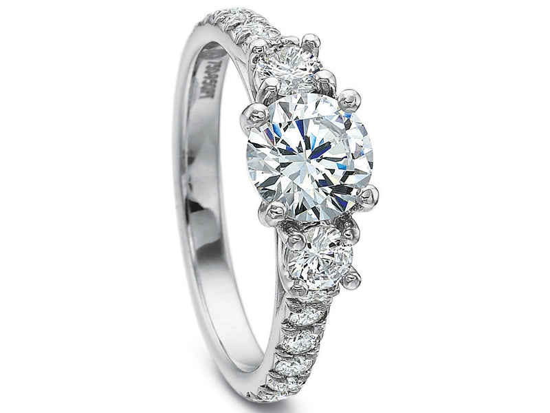 Precision Set New Aire Three Stone Split Diamond Shared Prong Ring
