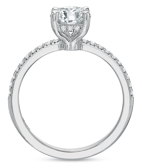 Precision Set Modern Classic 14k White Gold Engagement Ring With .12ct Diamonds