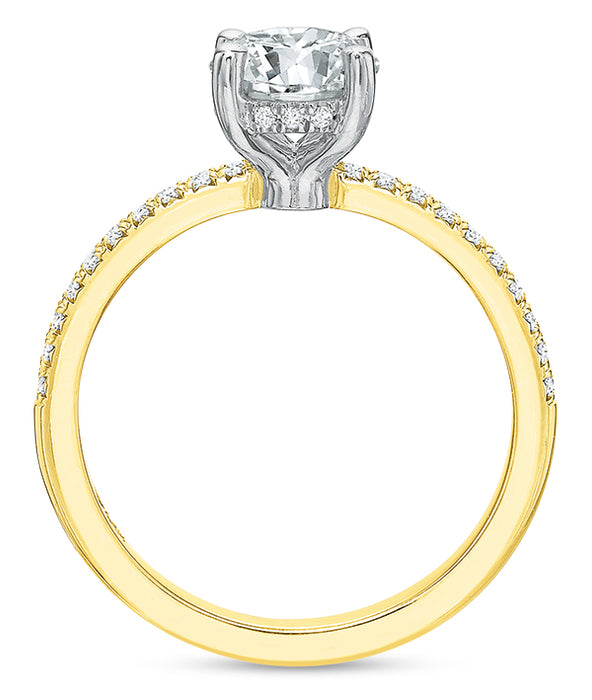 Precision Set 14k Yellow Gold French Cut Engagement Ring