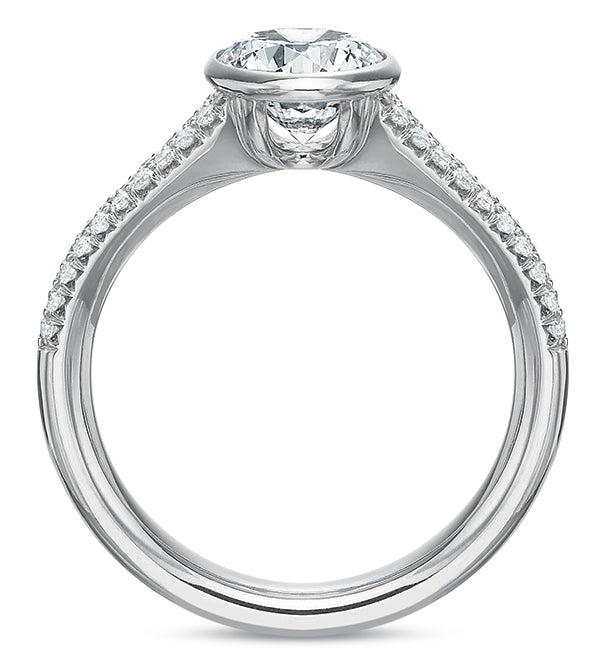 Precision Set Tapered Pave Engagement Ring in White Gold