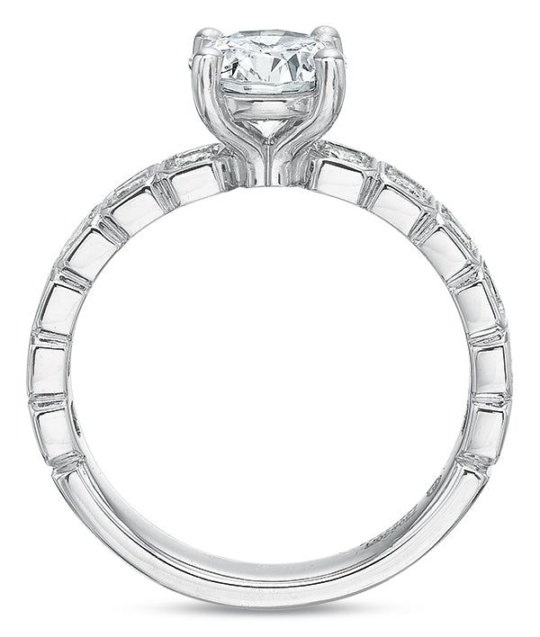 Precision Set Modern Classic 14k White Gold Engagement Ring With .45ct Diamonds