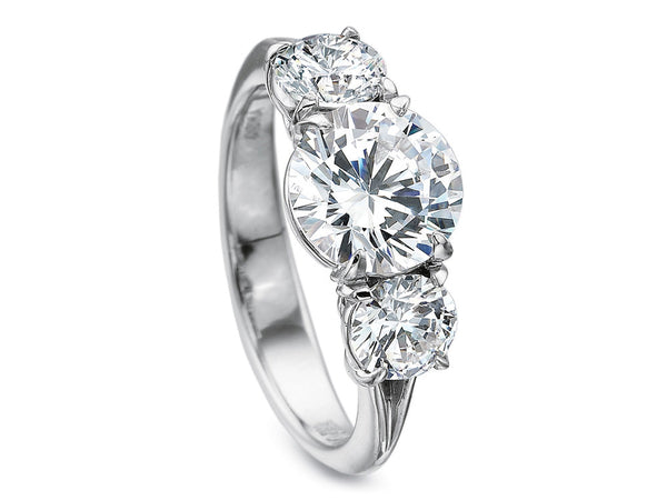 Precision Set Silk Three Stone Semi-Mount Ring With 1.50CTW Side Diamonds