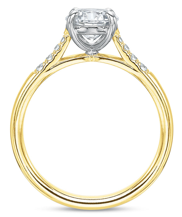 Precision Set 14k Yellow Gold Engagement Ring with Side Diamonds