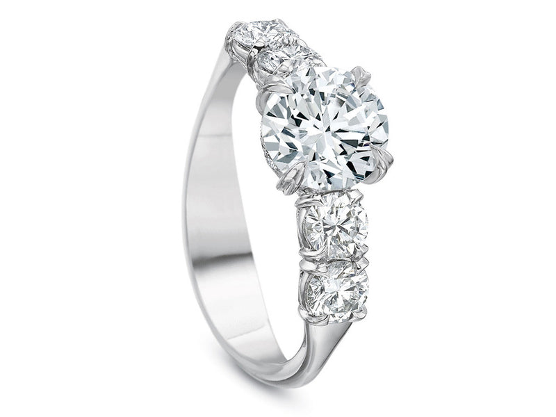 Precision Set Silk Five Stone Semi-Mount Ring With 0.40CTW Side Diamonds