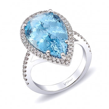 Coast 14k White Gold Aquamarine Halo Ring