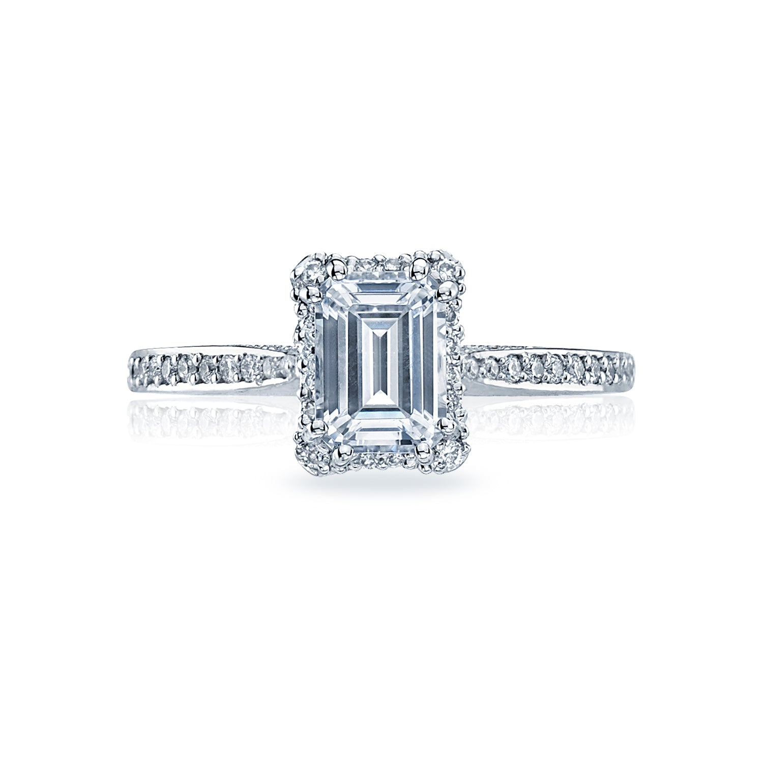 Tacori 'Dantela' 8x6mm Emerald Halo Engagement Ring