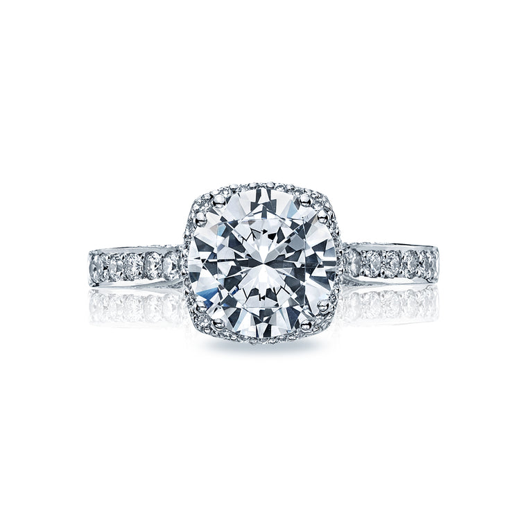 Tacori 'Dantela' 8.5mm Round Halo Engagement Ring