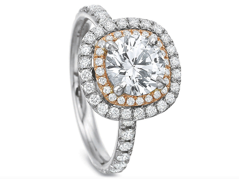 Precision Set Extraordinary Double Halo Cushion Engagement Ring