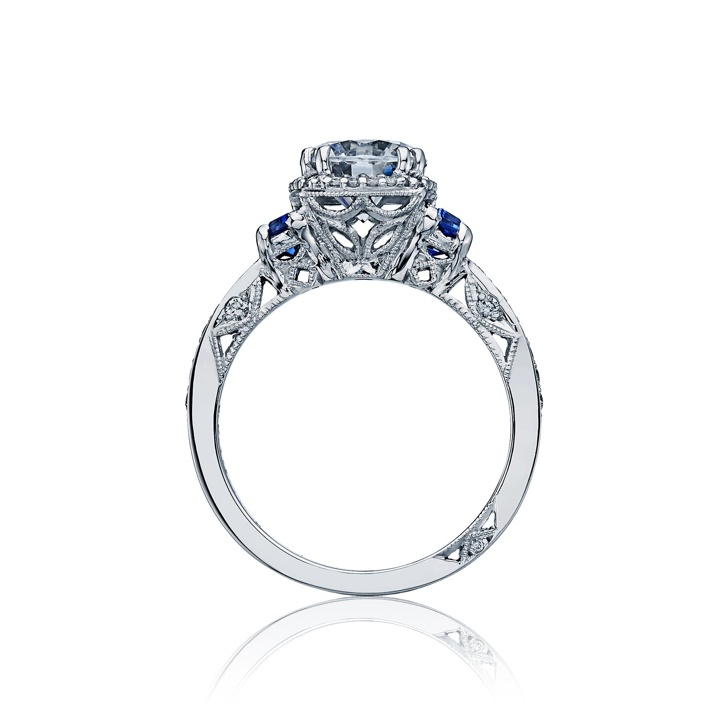 Tacori 'Dantela' 6.5mm Round Engagement Ring with Blue Sapphires
