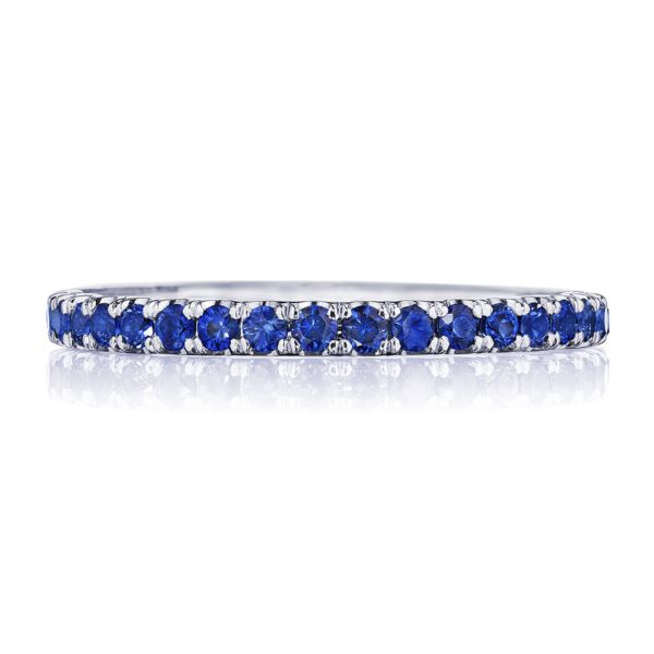 Tacori Sculpted Crescent 18k White Gold Wedding Band with Sapphires