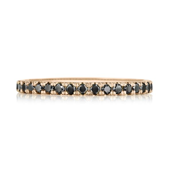 Tacori Sculpted Crescent 18k Rose Gold Wedding Band with 3/4 Black Diamonds