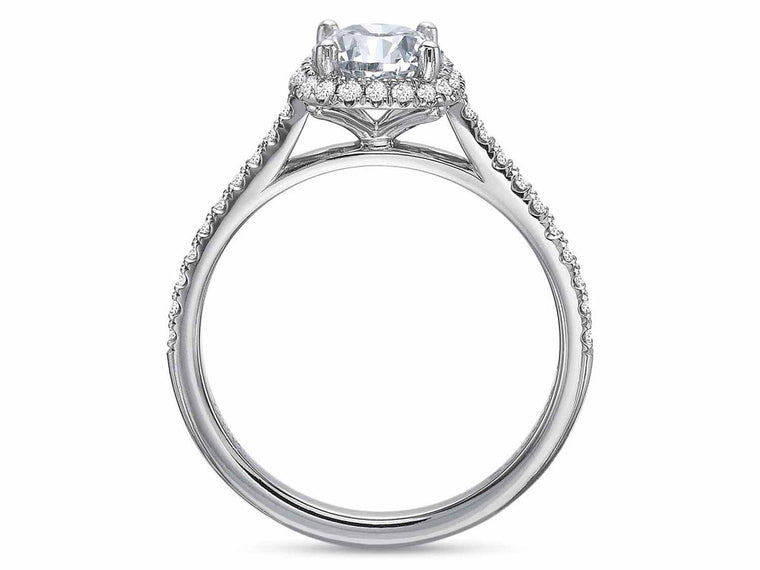 Precision Set New Aire Petite Cushion Halo Engagement Ring