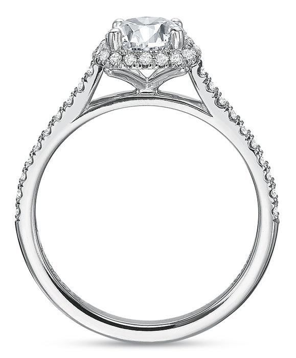 Precision Set New Aire 14k White Gold Halo Engagement Ring