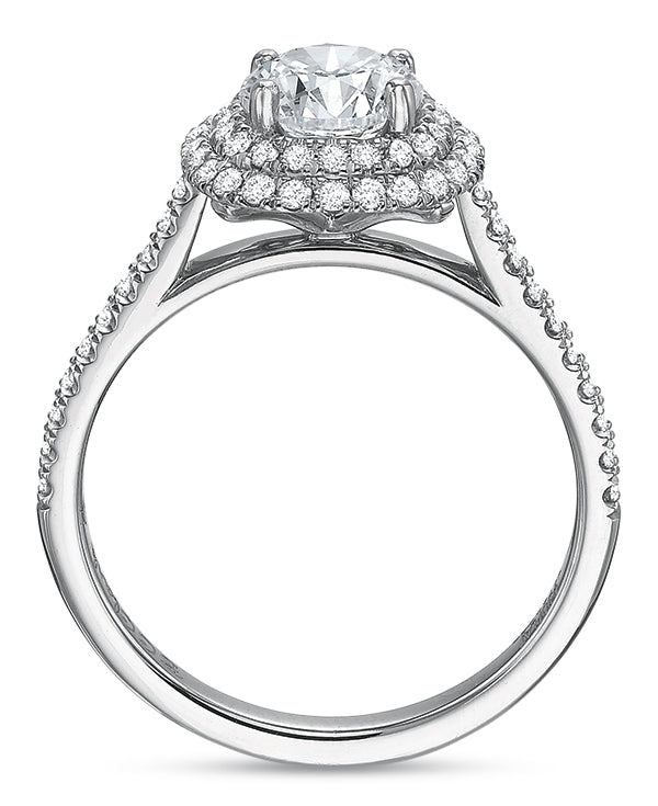 Precision Set New Aire Halo Semi Mount Engagement Ring