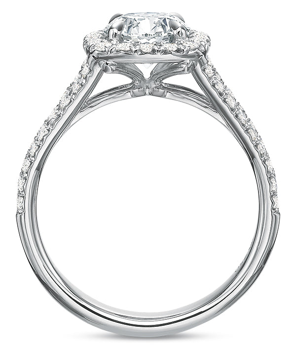 Precision Set Cushion Halo Top Engagement Ring
