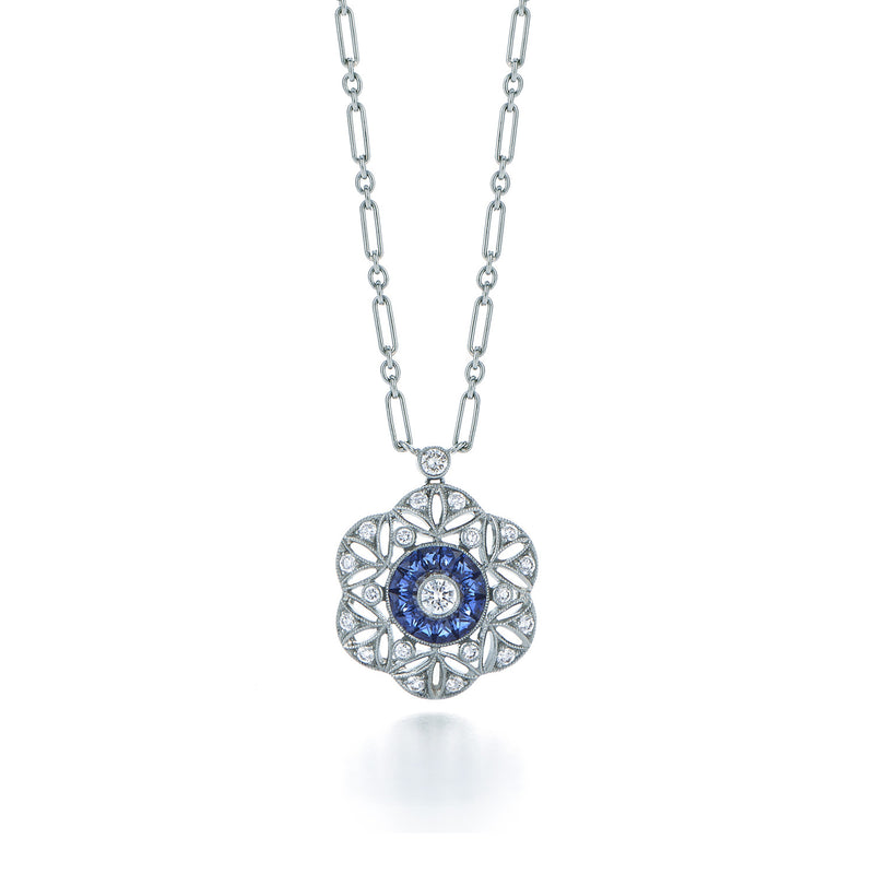 Kwiat Vintage Circle Pendant Necklace With Blue Sapphires