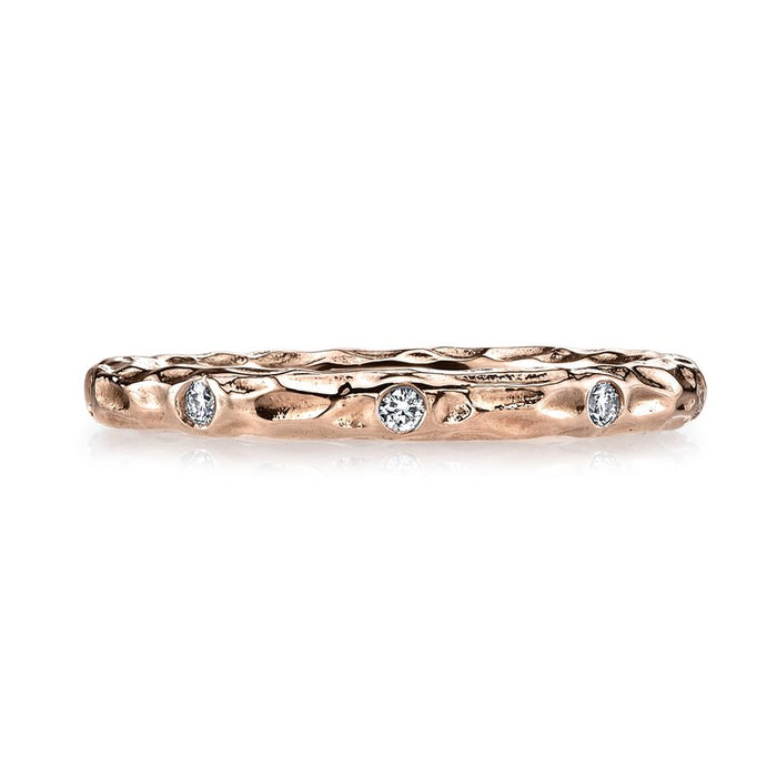 MARS 14k Rose Gold Textured Stackable Wedding Band with Diamonds