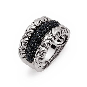 Charles Krypell Ivy Pave Ring with Black Sapphires