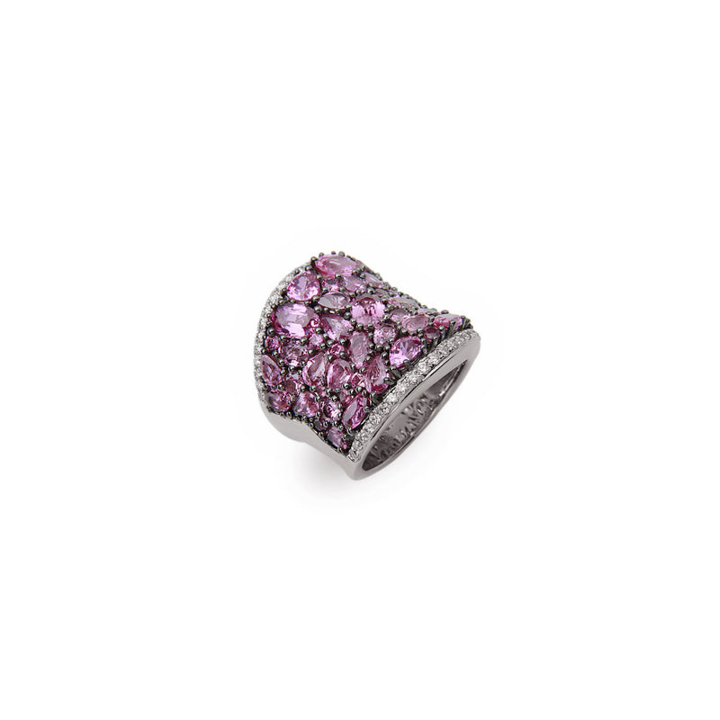 Charles Krypell Roxy Saddle Ring with Pink Sapphires