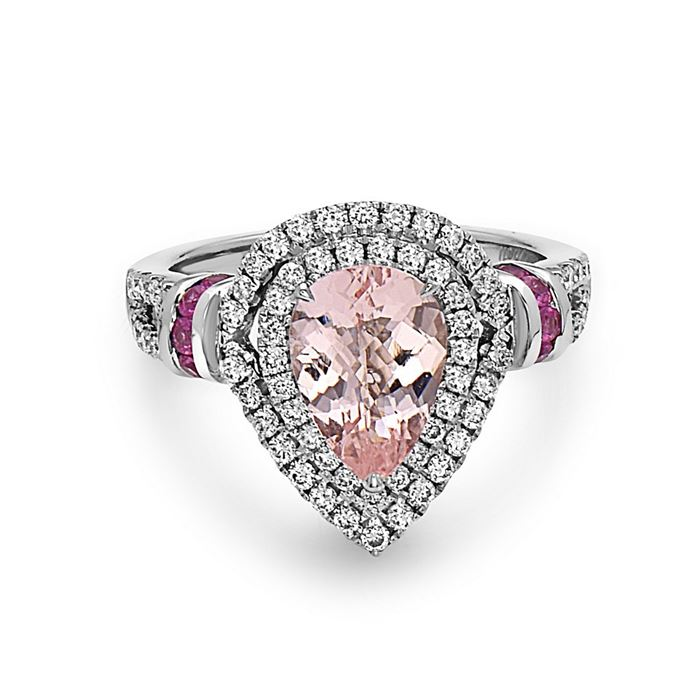 Charles Krypell Pastel Collection Ring with Pear Shaped Morganite