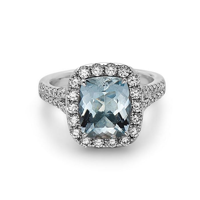 Charles Krypell Aquamarine and Diamond Ring
