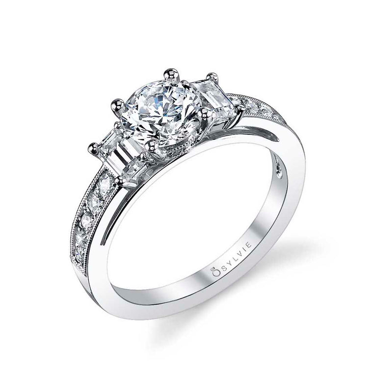 Sylvie Louisette Three-Stone Engagement Ring