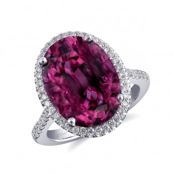 Coast 14k White Gold Garnet Halo Ring