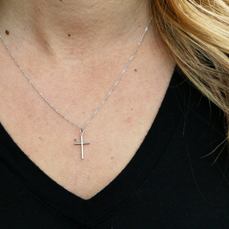 Hand Made Small 14k White Gold Cross Pendant