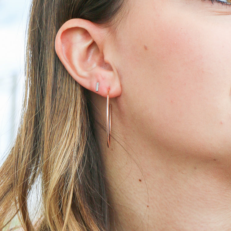 Hand Made 14k Rose Gold Mini Bar Stud Earrings