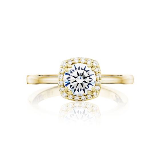 Tacori Coastal Crescent Cushion Halo Engagement Ring