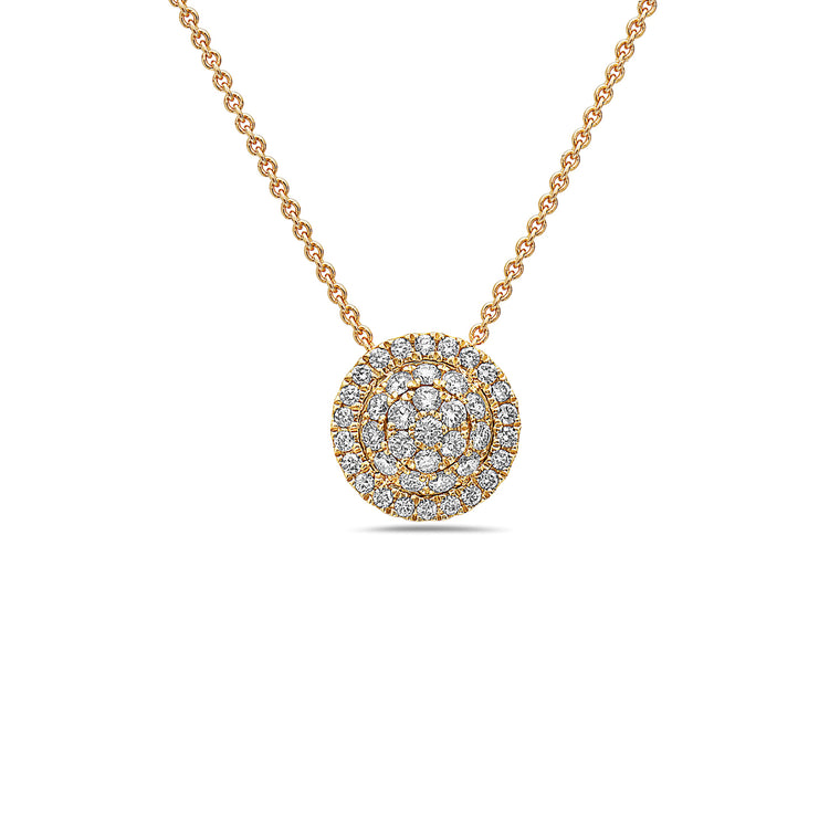 Charles Krypell 18k Yellow Gold and Diamond Pave Pendant Necklace