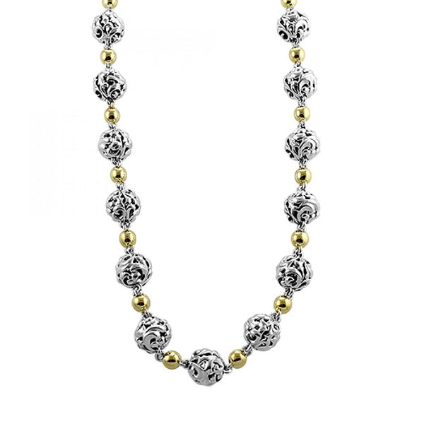 Charles Krypell Ivy and Micron Ball Necklace